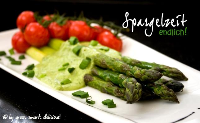 Grüner Spargel mit veganer Bärlauchcreme