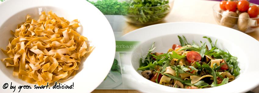 pasta salat mit pilzen und rucola green smart delicious. Black Bedroom Furniture Sets. Home Design Ideas