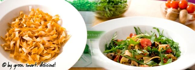 Pasta-Salat mit Pilzen und Rucola_Collage