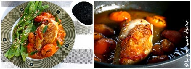 Aprikosen-Hühnchen mit breiten Bohnen in Safran-Sesam-Butter_COLLAGE