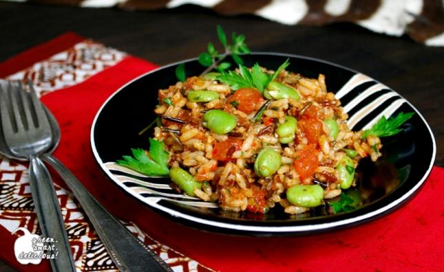 Reissalat mit dicken Bohnen und Tomaten